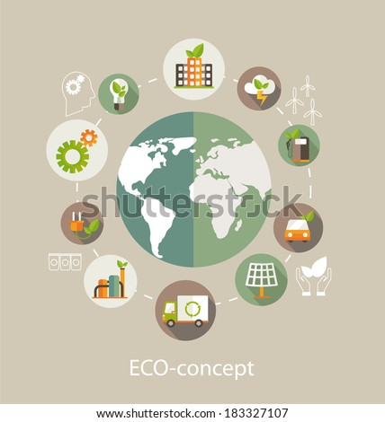 Eco concept. Globe with earth, nature, green,  recycling, bicycle, car and home icon. Vector illustration  - stock vector