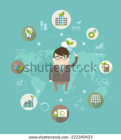 Eco concept. Globe with earth, nature, green, recycling, bicycle, car and home icon with scientists from eco ideas of saving the planet . Vector illustration. - stock vector