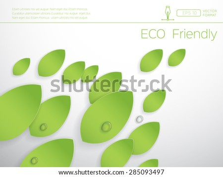 Eco concept - Green abstract leaves with water drop on white background - Vector design concept - stock vector