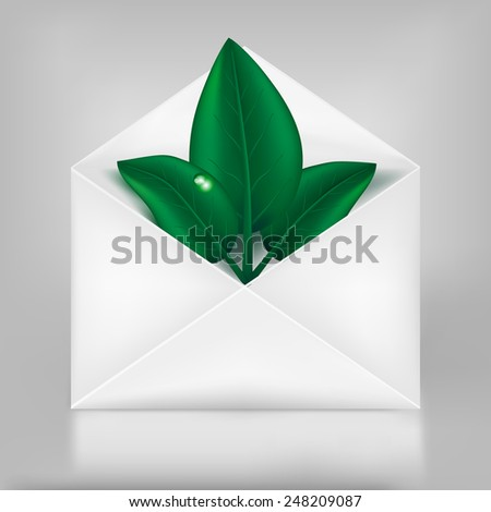 Eco concept. Green leafs in paper envelope. Vector eps 10 - stock vector