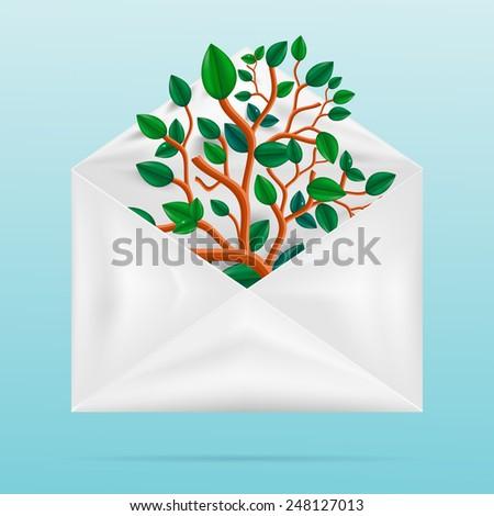 Eco concept. Green tree in paper envelope. Vector eps 10 - stock vector