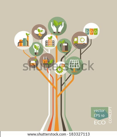Eco concept. Tree with earth, nature, green,  recycling, bicycle, car and home icon. Vector illustration  - stock vector
