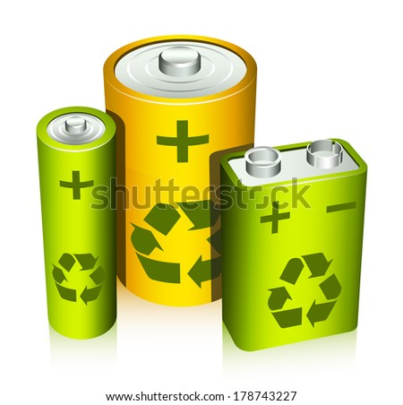 Eco concept with batteries isolated on white. Vector illustration. - stock vector