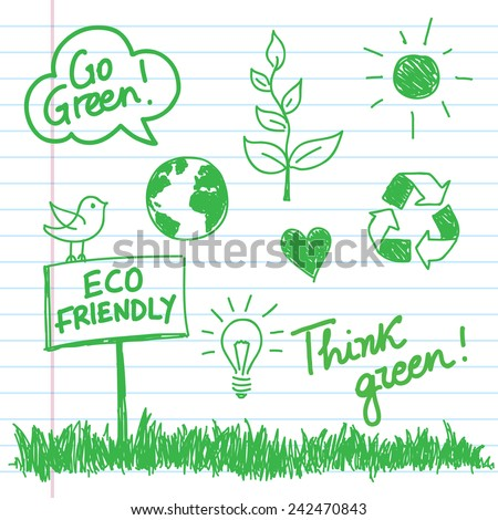 Eco doodles set drawn with a marker on a notebook sheet - Vector illustration. - stock vector