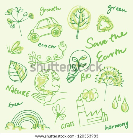 Eco doodles vector set - stock vector