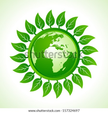 Eco earth inside the leaf background stock vector - stock vector