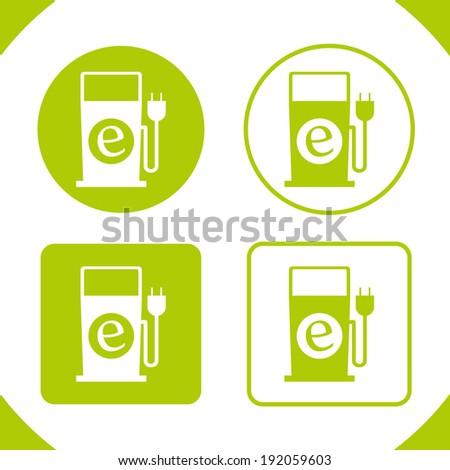 Eco/electric green Fuel Pump Badges (plug-in) - stock vector