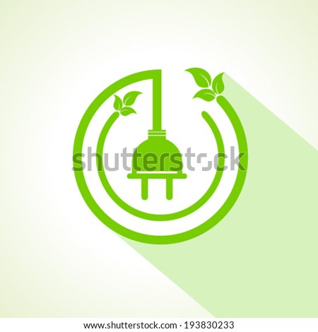 Eco electric plug with leaf stock vector - stock vector