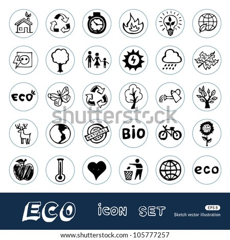 Eco elements and environment web icons set. Hand drawn sketch illustration isolated on white background - stock vector