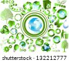 Eco end recycle symbols isolated on white - stock vector