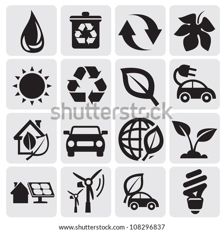 eco energy icons - stock vector