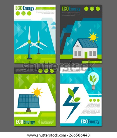 Eco energy solar panel and windmills ecological  rechargeable electricity generation systems 4 icons poster abstract vector illustration - stock vector