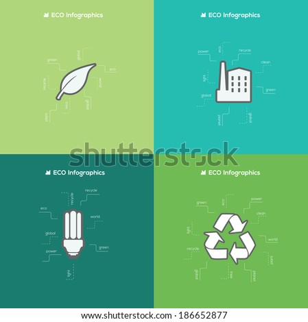 Eco Flat Design Infographic elements. Vector - stock vector