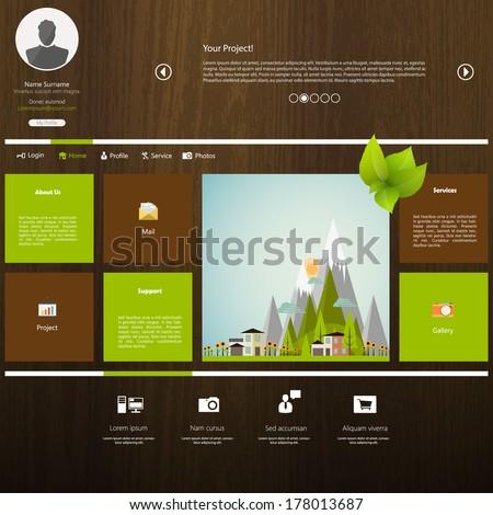 Eco Flat Metro Web Design Template.  - stock vector