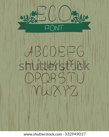 eco font on wooden background - stock vector