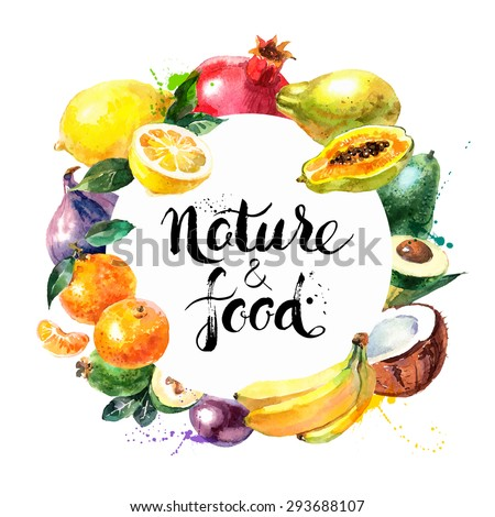 Eco food menu background. Watercolor hand drawn fruits. Vector illustration - stock vector