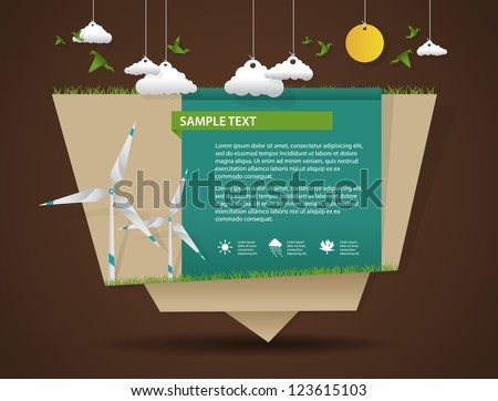 Eco friendly and green energy origami template - stock vector