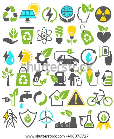 Eco Friendly Bio Green Energy Sources Icons Signs Set Isolated on White Background - stock vector
