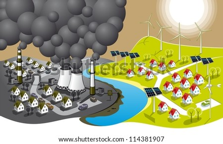 Eco-friendly city. Illustration of two cities - dirty and clean renewable energy. - stock vector