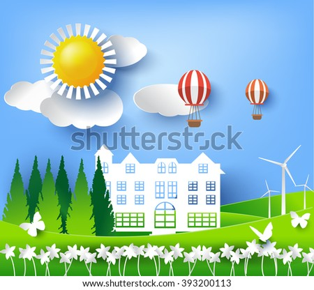 ECO FRIENDLY. Ecology concept with tree background, paper cut style. vector illustration - stock vector