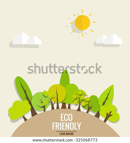 ECO FRIENDLY. Ecology concept with tree background. Vector illustration. - stock vector
