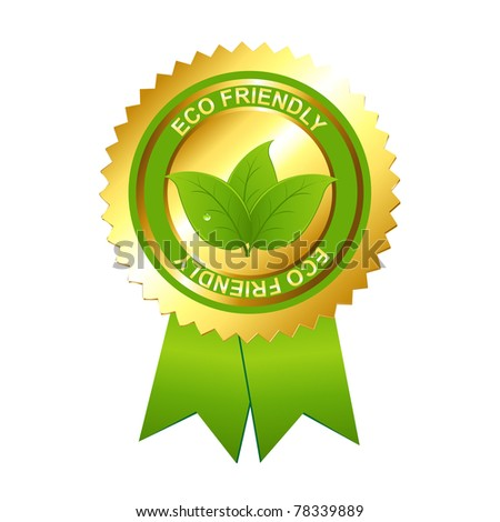 Eco Friendly Emblem, Isolated On White Background, Vector Illustration - stock vector