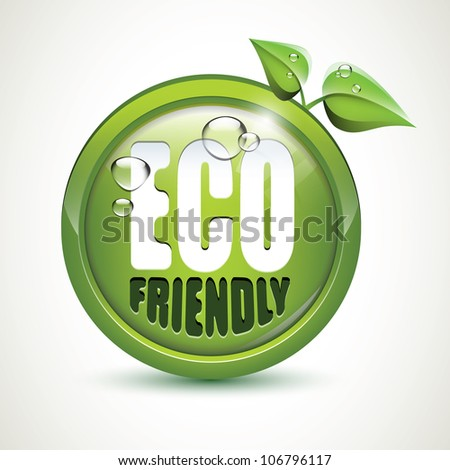 ECO friendly - glossy icon - stock vector