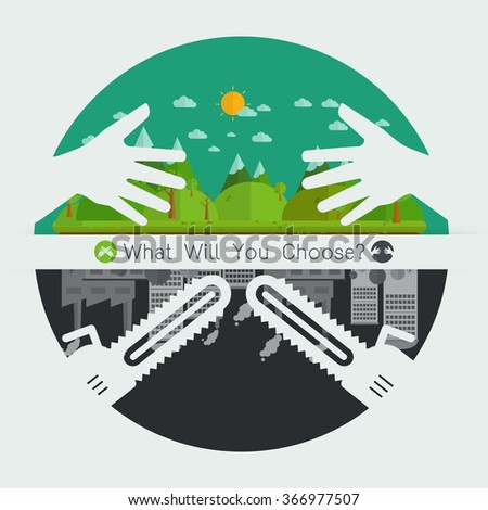 Eco friendly hands hug concept green tree.Environmentally friendly natural landscape.saw blade symbol concept destroy Environmentally .what will you choose concept. Vector illustration - stock vector