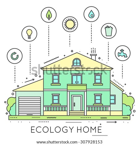 Eco-friendly home infographic. Ecology green house. Thin line style vector illustration. - stock vector
