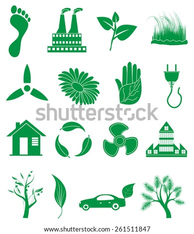 eco friendly icons set - stock vector