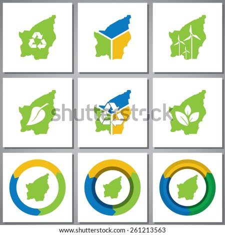 Eco friendly marks and icons with country silhouette - stock vector