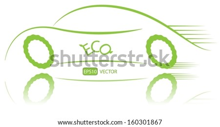 Eco friendly nonpolluting car in motion. Green energy hybrid car vector design. Simple creative green ecological racing vehicle with reflection. Easy to edit vector illustration.  - stock vector