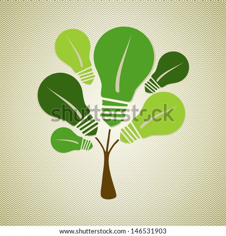 Eco friendly renewable energy icons tree concept. This illustration is layered for easy manipulation and custom coloring - stock vector