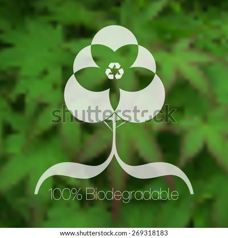Eco friendly tree design against blurred green leafy background. - stock vector