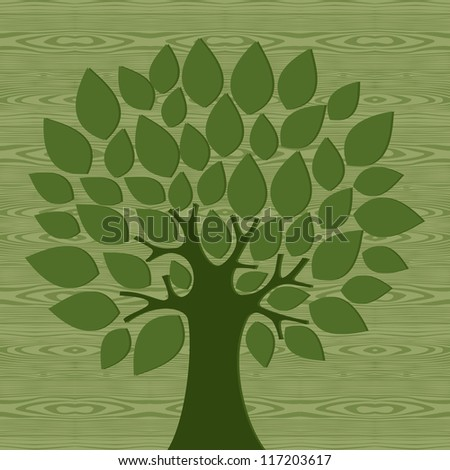 Eco friendly tree over wooden pattern background. Vector file layered for easy manipulation and custom coloring. - stock vector