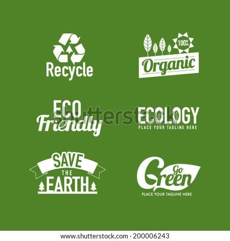 Eco friendly typography masthead with icon design - stock vector