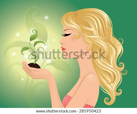 Eco-friendly woman holding a plant. - stock vector