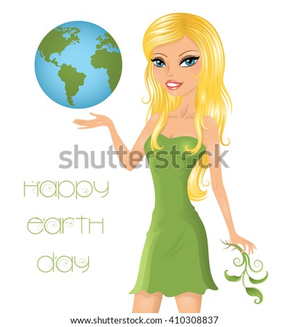 Eco-friendly woman holding our the Earth. - stock vector