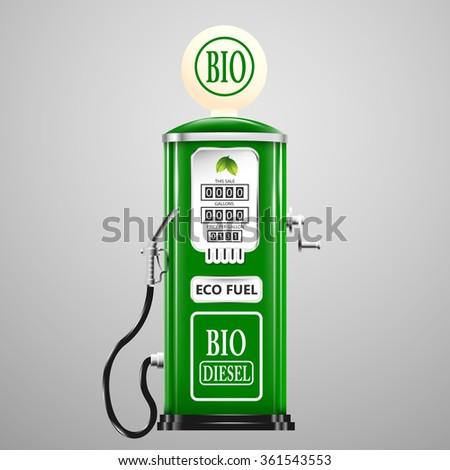 Eco fuel, vintage bio diesel pump. - stock vector