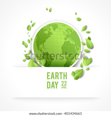 Eco green concept for design banner,ticket, leaflet and so on.Template page for Earth day. Holiday card. Green globe and leaves. Isolated. - stock vector
