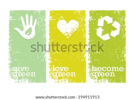 Eco Green Creative Organic Vector Banners Concept  - stock vector