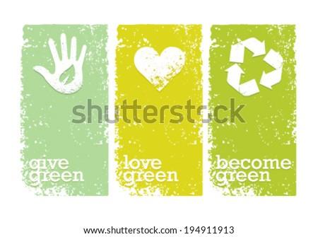 Eco Green Creative Organic Vector Banners Concept  - stock vector