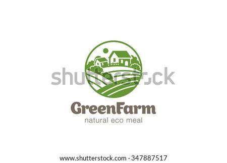 Eco Green Farm Circle Logo design vector template. Natural Organic food Logotype concept icon. - stock vector