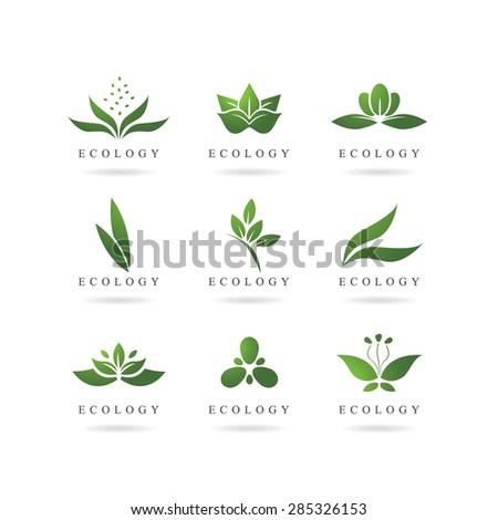 eco green logos vector - stock vector
