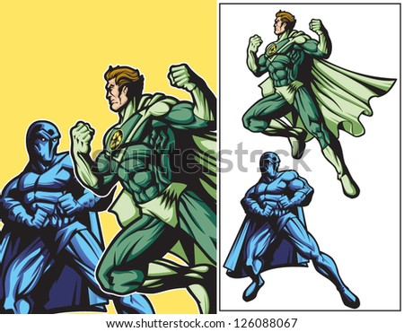Eco Hero vs Dark Hero - stock vector