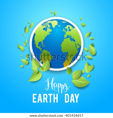 Eco holiday card on blue background. Concept for design banner,ticket, leaflet and so on.Template page for Earth day. Holiday card. Green globe and leaves. - stock vector
