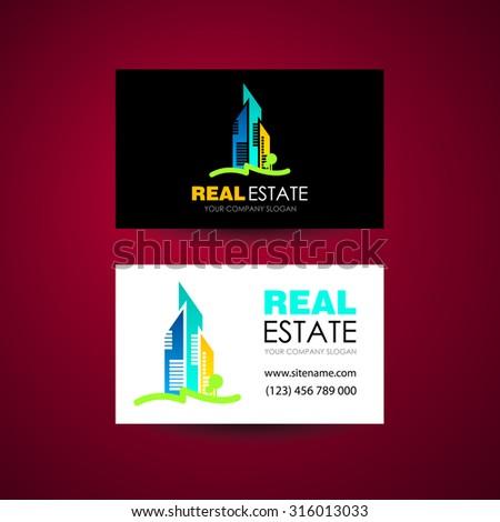 Eco home and real estate logo template. Business card design idea. - stock vector