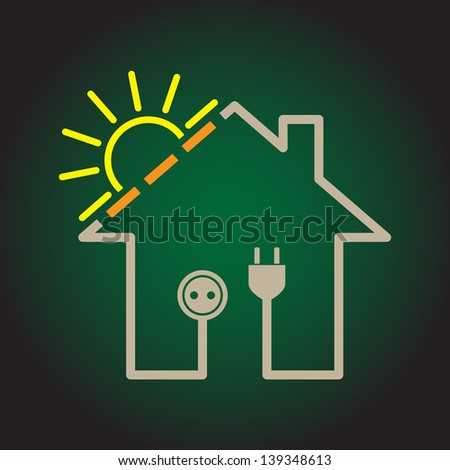 Eco house as simple solar electricity circuit - illustration - stock vector