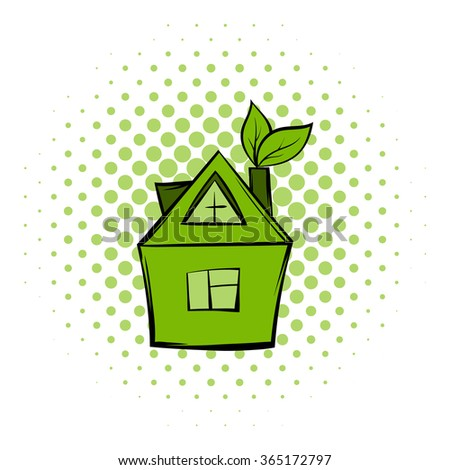 Eco house comics icon. Modern green ecology symbol on a white background - stock vector