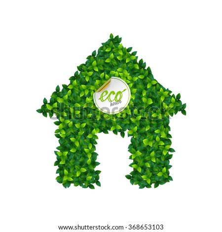 eco house concept with house sign made of fresh green leaves - stock vector